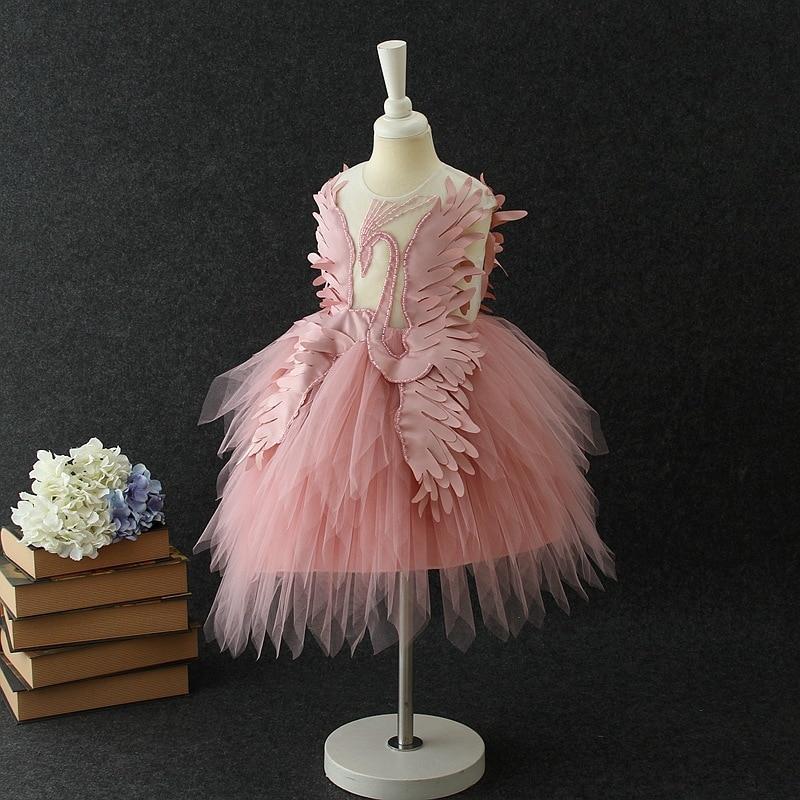 2018 New Style Swan Formal Dress Mesh Dress Girls Dress Costumes Swan Pattern Princess Skirt