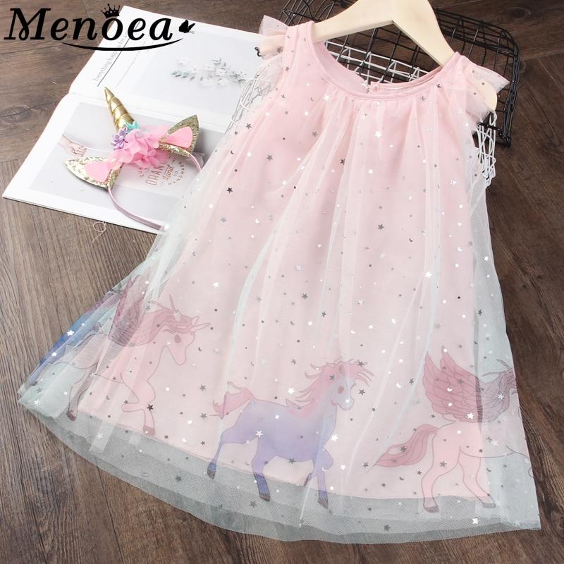 Menoea Children Dress 2020 Kids Summer Sleeveless Clothes Girls Party Animals Princess Dress Kids Clothing For Party Dresses