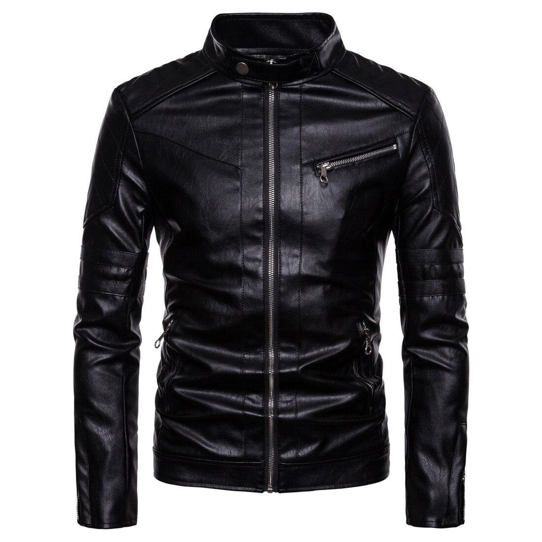 Men Leather Jackets and Coats Jacket Winter Faux Biker Motorcycle
