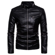 Men Leather Jackets and Coats Jacket Winter Faux Biker Motorcycle