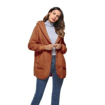 LITTHING Long Faux Fur Coat Women 2020 Autumn Winter Warm Soft Fur Jacket Female Plush Overcoat Pocket Casual Teddy Outwear