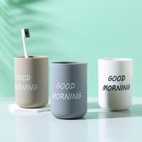 Simples nordic viagem portátil conjuntos de copo do banheiro escova de dentes de plástico titular copo boa manhã organizador de armazenamento