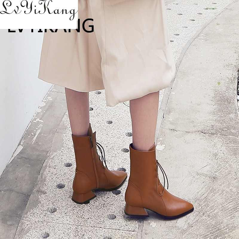 2019 hakiki deri kahverengi sivri burun kadın yarım çizmeler düşük topuk kare bahar ve sonbahar kadın yarım çizmeler Zapatos De Mujer