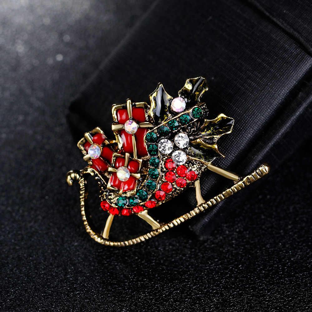Serie di natale di modo semplice Spilla accessori Elegante atmosfera Slitta auto Spilla donne ins di stile regalo Di Natale