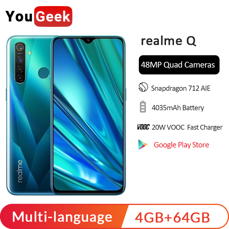 Realme Q 4GB RAM 64GB ROM 6.3'' Moblie Phone Snapdragon 712AIE Octa Core 48MP Quad Camera Cellphone OPPO VOOC 20W Fast Charger