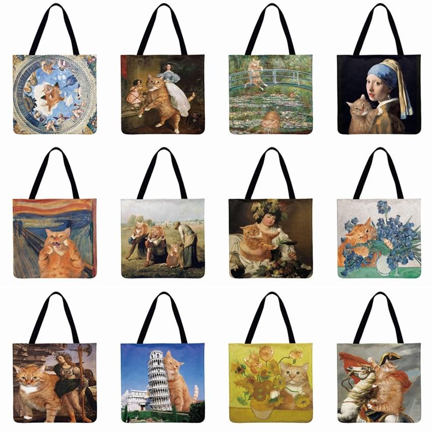 Women Shoulder Bag Funny Cat Printed Casual Tote Linen Febric Tote Bag Beach Bag Foldable Shopping Bag Reusable Fashion Bag