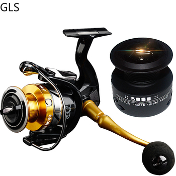 High Quality 14+1 BB Double Spool Fishing Reel High Speed Metal Spinning Reel Carp Fishing Reels with Free Spare Spool For Saltw ice fishing reels ball bearings high quality reels mini fishing carp fishing reel spool fishing tackle gear