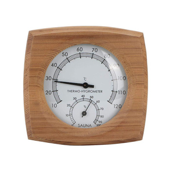 2 In 1 Dial Hot Tub Fahrenheit High Temperature Resistant Wooden Thermo Hygrometer Humidity Meter Spa Sauna Room Wall Hanging