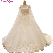 Imagem real vestidos de casamento de luxo 2019 vsetido de novia com xale cabo cristais rendas miçangas apliques trem real vestidos de noiva
