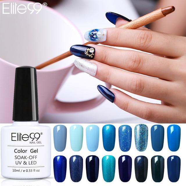Elite99 blau Gel Nagel Led gel für nägel Hybrid gel top basis mantel polygel uv lampe Gel Varinish Blau glitter Nail art werkzeuge