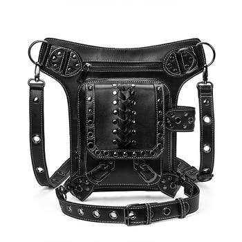 Vintage Punk Multi-Function Moto Waist Bag Retro Rock Gothic Biker Shoulder Drop Leg Sling Chest Pack Victorian Backpack