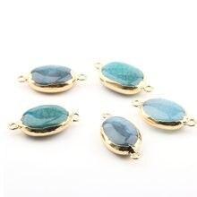 Natürliche Stein Achate Anhänger unregelmäßige form Doppel loch stecker DIY für Halskette oder Schmuck, Der Größe 35*20*9mm