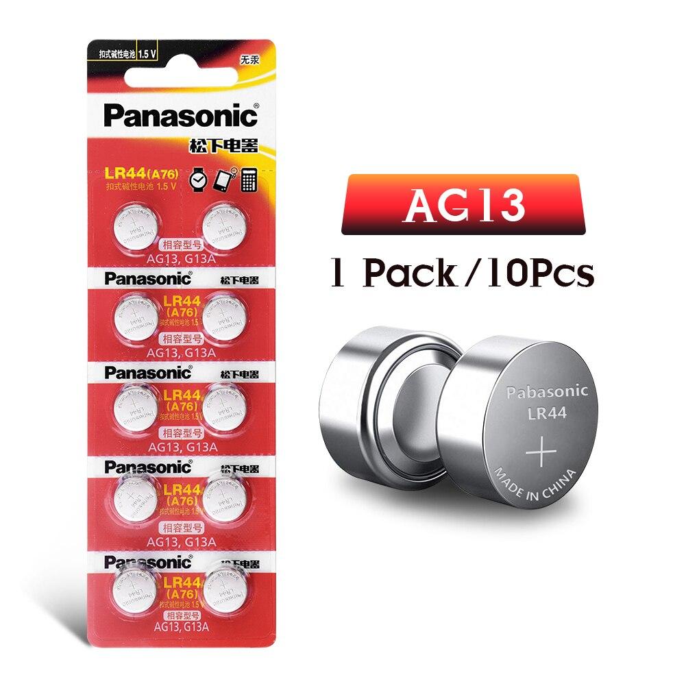 10 шт./лот Panasonic AG13 батарея для монет LR44 303 357 357A D76A G13 щелочные кнопочные батареи 1,5 в для часов электронный пульт дистанционного управления