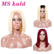 Human-Hair-Wigs Bob-Wigs Blonde Short Bob Ms Lula Lace-Front Pre-Plucked Remy 13x6 Straight