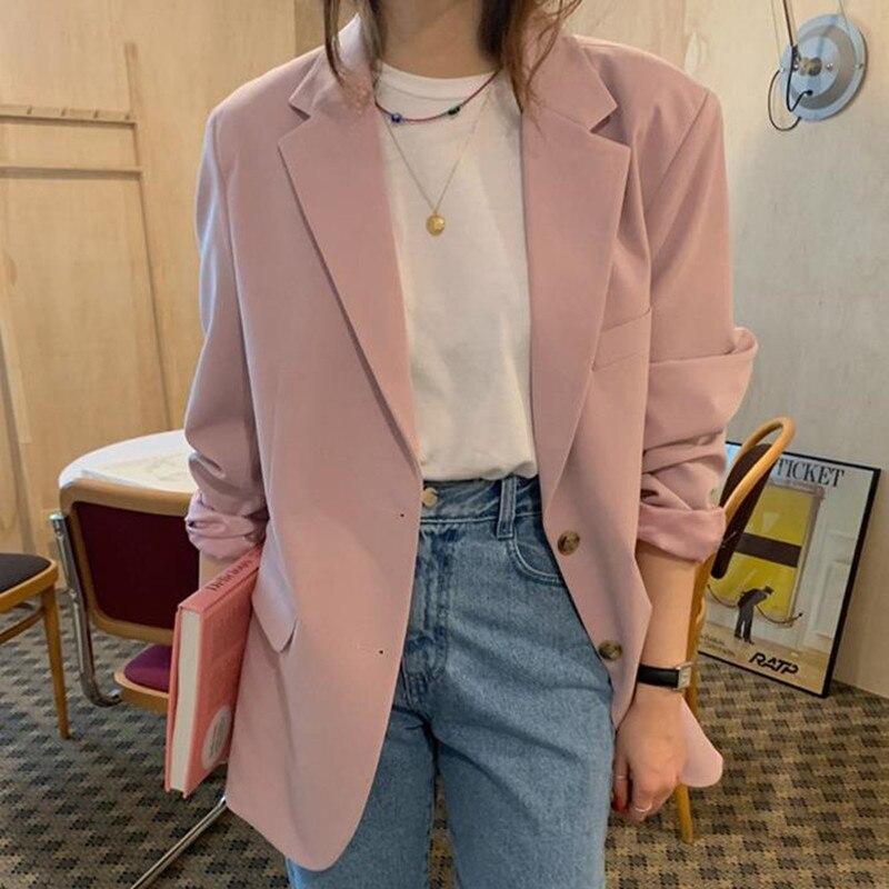 HziriP 2020 New Fashion Women Blazer Elegant Long Sleeve Jacket Solid Lapel Spring Autumn Tops Office Lady Blazers Coat Outwear