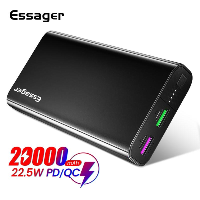 Essager-Banco de energía portátil, 20000 mAh, USB tipo C, PD QC 3,0, cargador de batería externo para Xiaomi mi 20000 mAh, Banco de energía
