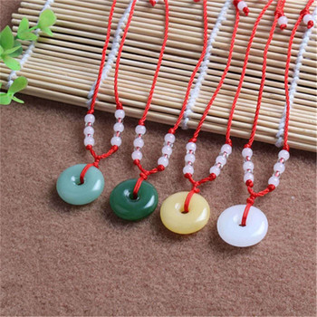 1pcs pcs Natural Green white Stone Doughnut Carved Pendant Necklace Chinese Jadeite Jewelry Charm Amulet Gifts for Women Men image