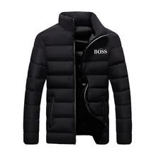 Tak BOSS druku kurtka zimowa mężczyźni gruba ciepła kurtka szczupła na co dzień męska bluza z kapturem kurtka typu Parka mężczyźni bawełna gruba Parka kurtka typu Parka M-4XL tanie tanio CN (pochodzenie) COTTON REGULAR Trykot bawełniany Suknem Dwurzędowy Drukuj