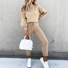 Женский спортивный костюм, модный однотонный Женский Повседневный свитшот с длинным рукавом и круглым вырезом, брюки-карандаш, весна 2021