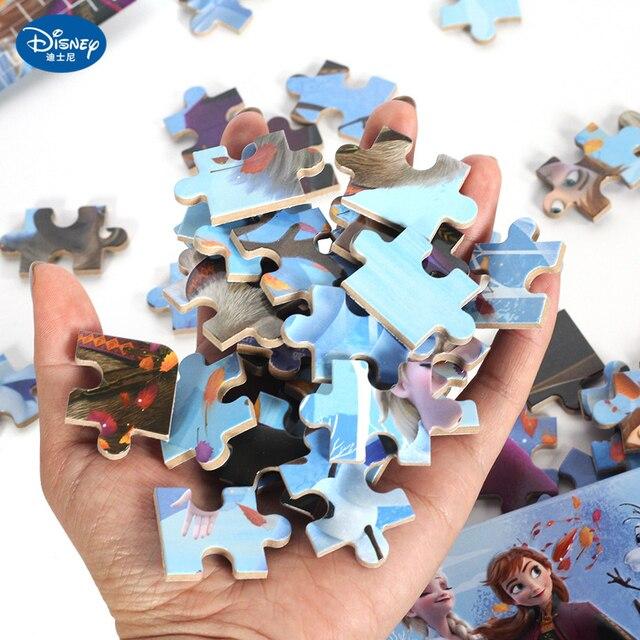Disney 60 Piece Princess Frozen Wooden Box Puzzle Early Education Children Bottom Box Puzzle Birthday Toys Intelligence Puzzle 6