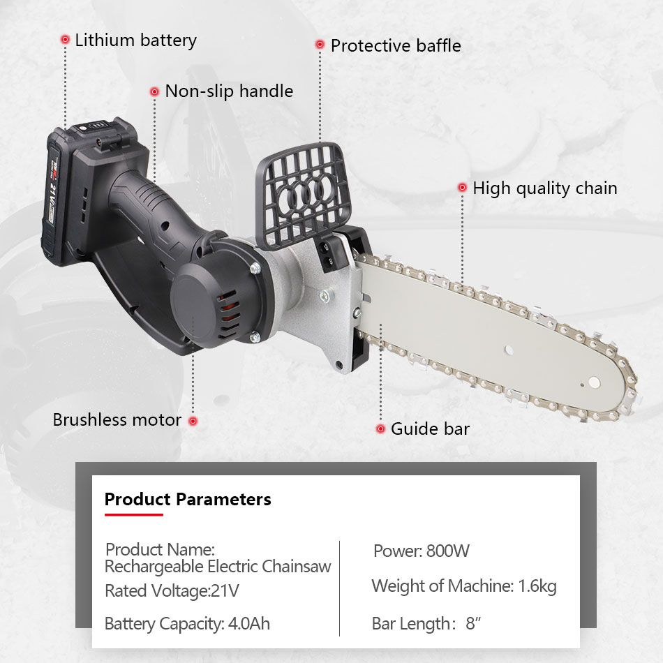 Tools : NEWONE Electric Power Tool Li-ion Cordless 800W Mini Chainsaw Portable lighter Chainsaw for cutting pruning with 2 0 4 0 Battery