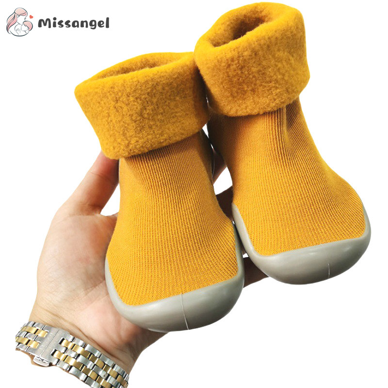 Winter Kids Warm Snow Shoes Socks Infant Boys Brushed Thick Sock Shoes Yellow Black Baby Girls Booties Soft Soles Toddler Shoes(China)