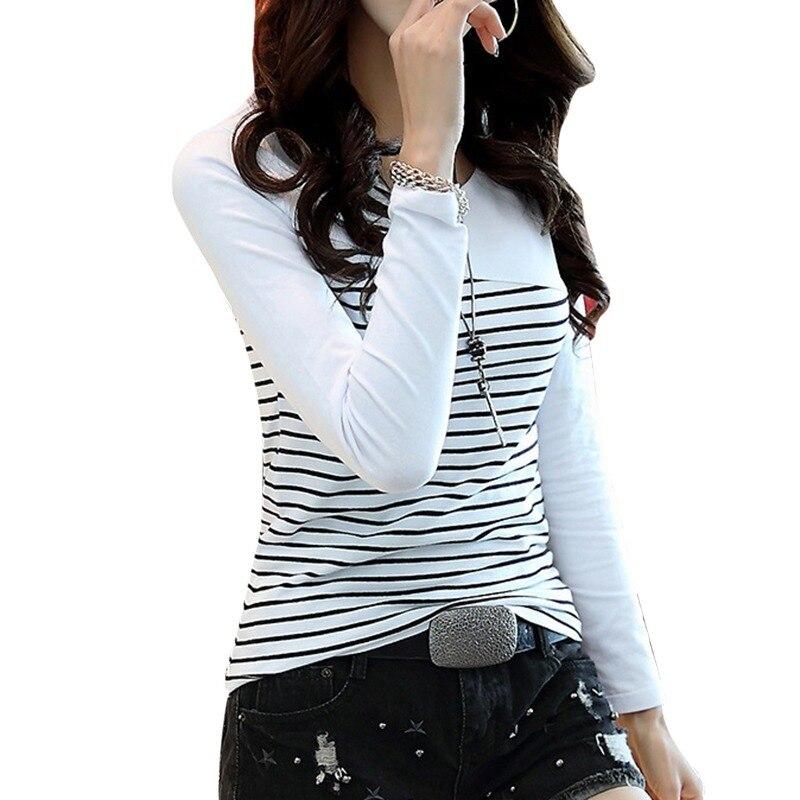 H99dd1e653dfd43029a58c11428fc87c5r - T Shirt Women Top Shirts Long sleeve Casual Tshirt Striped Female