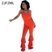 Backless Ruffles Sexy Flared Rompers Womens Jumpsuit Halter Tie Up Orange Bandage Playsuit Summer Bodycon Plus Szie Bodysuit