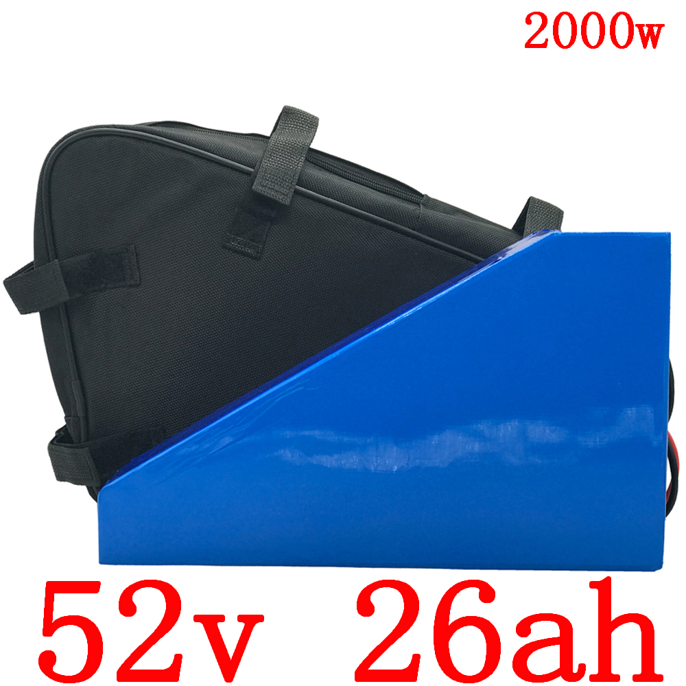 52V Triangle ebike battery 52V 25AH electric bike battery 52V 1000W 1500W 2000W Lithium-ion battery with 50A BMS and 5A charger