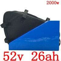 52V Driehoek ebike batterij 52V 25AH elektrische fiets batterij 52V 1000W 1500W 2000W Lithium -ion batterij met 50A BMS en 5A charger
