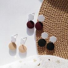 2019 New Fashion Handmade Korean Wooden Statement Earrings Round Drop Dangle Earring For Women Top Design Ear Jewelry