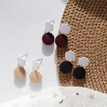 2019 New Fashion Handmade Korean Wooden Statement Earrings Round Drop Dangle Earring For Women 2019 Top Design Ear Jewelry(China)
