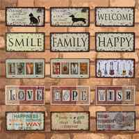 Feliz familia sonrisa y amor placas de coche Metal estaño signo hogar Decoración Vintage pared placas cartel Pub Bar Garage café Decoración
