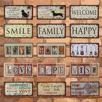 Feliz familia sonrisa y amor placas de coche Metal estaño signo hogar Decoración Vintage pared placas cartel Pub Bar Garage café Decoración