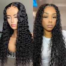 Wigirl onda profunda 13x4 frente do laço perucas de cabelo humano encaracolado brasileiro longo 28 30 polegadas onda de água peruca frontal do laço para a mulher preta