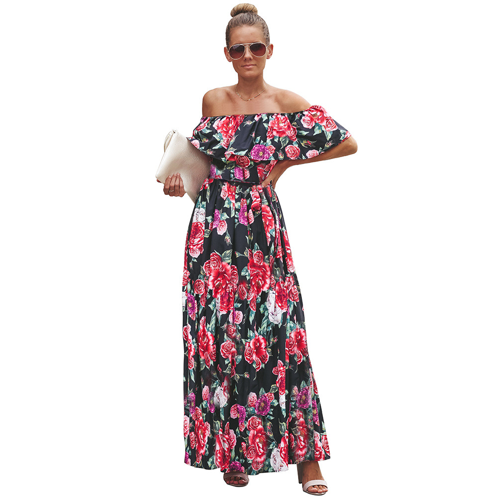 2019 Spring Summer New Style Europe And America WOMEN'S Dress A- Line Skirt Sub-Horizontal Neck Short Sleeve Floral Printed Dres