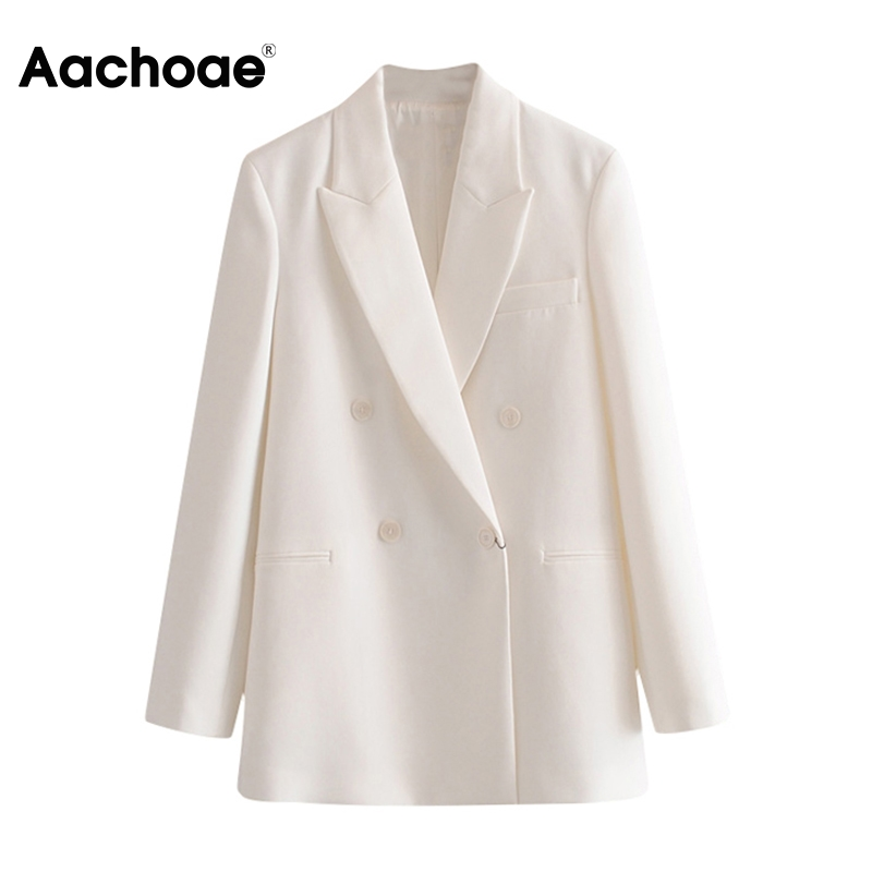 Aachoae Women Double Breasted White Blazer Coat Notched Neck Long Sleeve Casual Coat Outerwear Pocket Office Wear Jacket Female