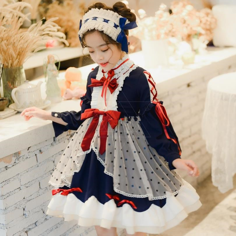 Children's Lolita Long-sleeved Dress Spanish Court Sweet Cute Princess Dress For Girl Birthday Easter Party Cosplay Dress Y2779