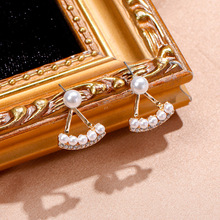 Korean Geometric Simulated Pearl Earrings for Women Elegant White Pearl Triangle Drop Dangle Earrings Fashion Statement Jewelry fashion jewelry golden triangle small black white glass drop earrings woman gift