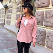 Women Casual Solid Pockets Corduroy Blouse Turn Down Collar Long Sleeve Office L