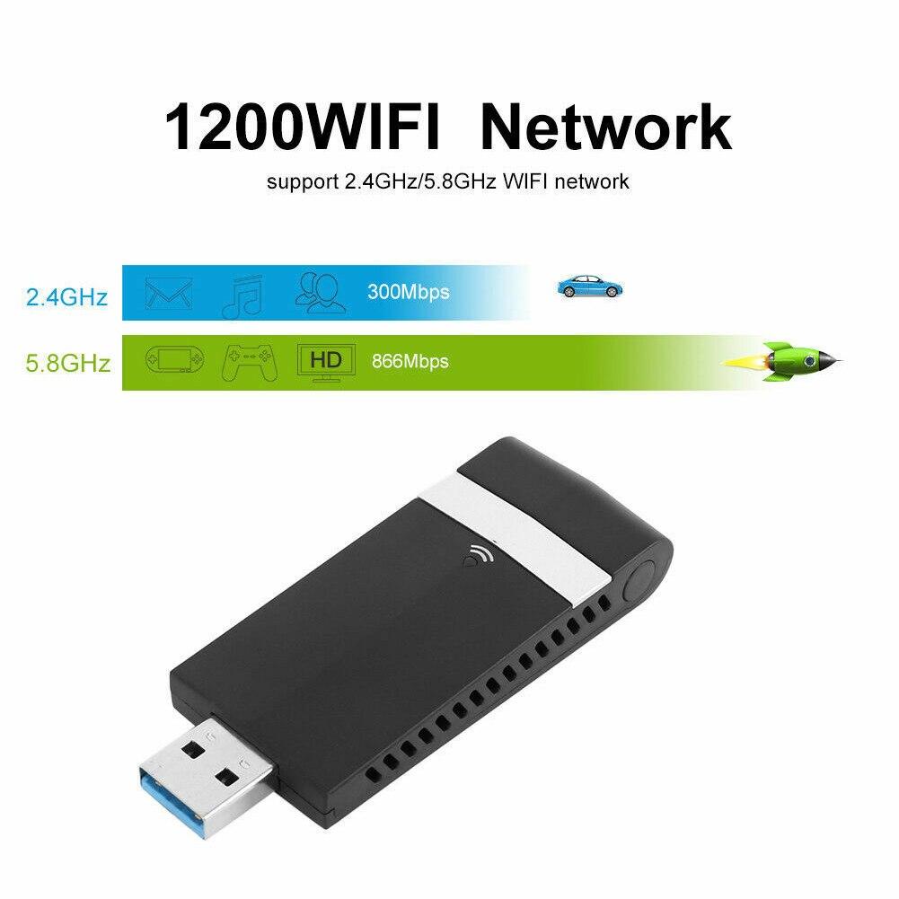 1200 Мбит/с двухдиапазонный беспроводной LAN 5,8 ГГц приемник Wifi ключ для ноутбука ПК USB 3,0 конвертер Интеллектуальный USB адаптер мини