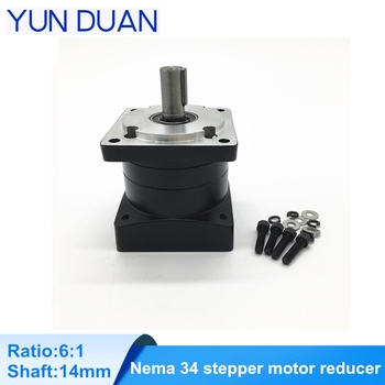 Speed ratio 6:1 Nema34 planetary gearbox shaft 14mm,Rated 30Nm spur gearbox ratio4 for nema 34 stepping motor image