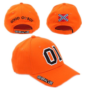 General Lee 01 Embroidered Cotton Cosplay Hat Orange Good OL' Boy Dukes Baseball Cap Adjustable