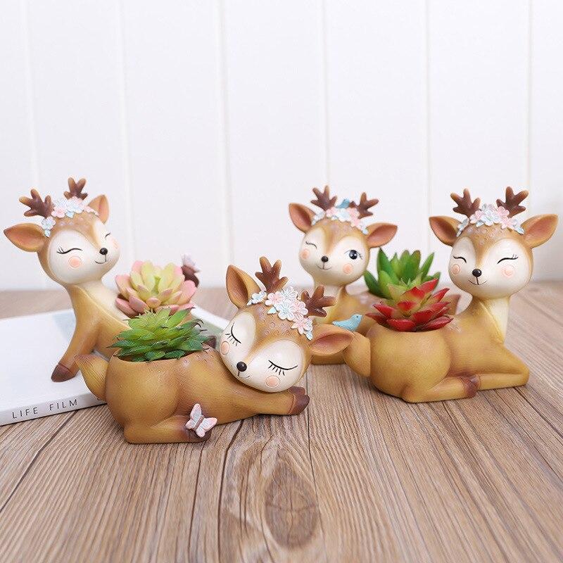 1 piece Cartoon Deer Flowerpot Succulent Planter Pots Animal Sika Deer Craft Desktop Cactus Flower Pot Fairy Garden Decor (13)
