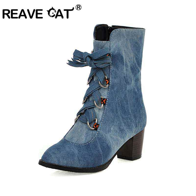REAVE KEDI büyük boy 46 orta topuk fermuar çizmeler kadınlar için çapraz bağlı yüksek topuklu ayakkabılar kadın mavi kovboy yarım çizmeler patik bayan ayakkabıları