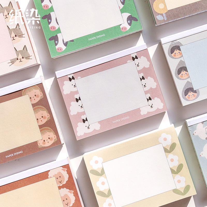 SIXONE 90 Sheets Cartoon Cute Fruits Animal Sticky Notes Kawaii Korea Girl Memo Pad Student Diary Message Stickers Stationery