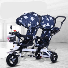 Carriage Baby Strollers Air-Wheel Push-Trike Double-Twin Tricycle with Universal Travel