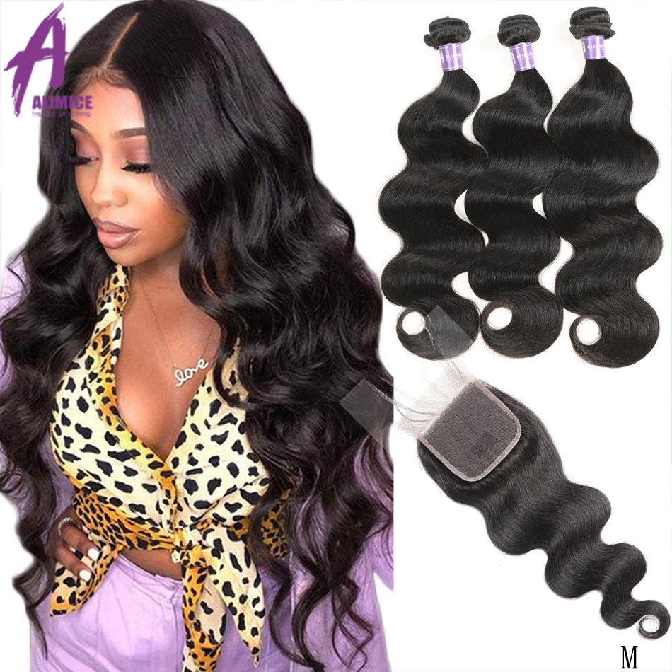 Alimice Hair Brazilian Body Wave Bundles With Closure Human Hair Weave Bundles With Closure Remy Human Hair Bundle Middle Ratio