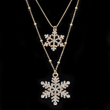Fashion Gold Rhinestone Snowflake Pendant Necklaces Long Sweater Chain Double Layers Necklace & Pendant Christmas Gift Jewerly fashion wild necklace symmetrical five petal flower blue rhinestone elegant rhinestone pendant sweater long necklace jewelry