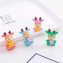 4 Pcs/lot  Cartoon Colorful Animal Deer Elk Eraser Rubber Pencil Erasers School Office Supply Gift Stationery